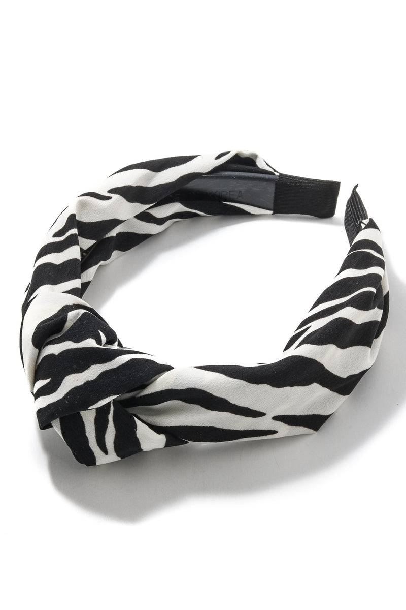 Black White Zebra Pattern Knot Head Band