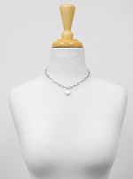 Silver Coin Pearl Chain Necklace Set