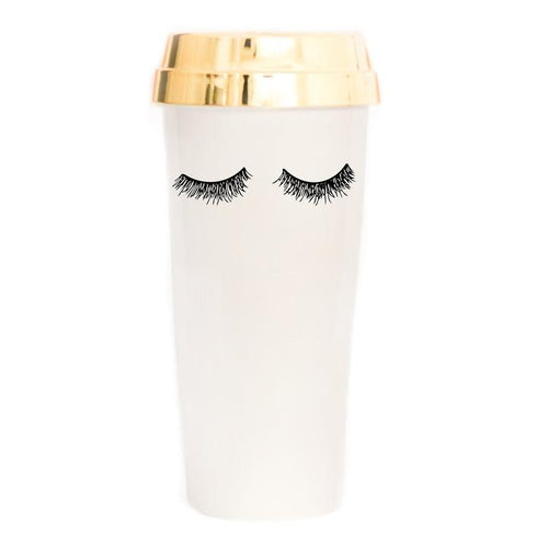 Cream Eyelash Travel Mug