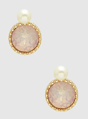 Light Pink Crystal Pave Faceted Round Bead Post Stud Earrings