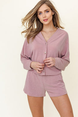 Mauve Long Sleeve Button Down Top