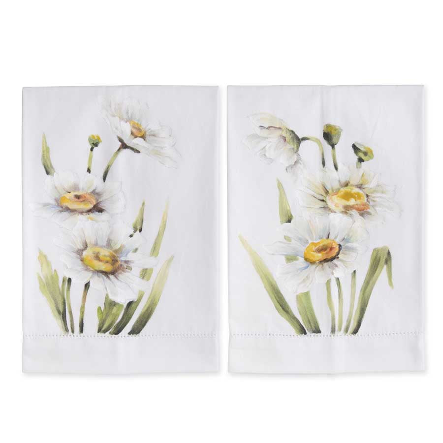 White Daisy Handpainted Cotton Guest Towels Set of 2