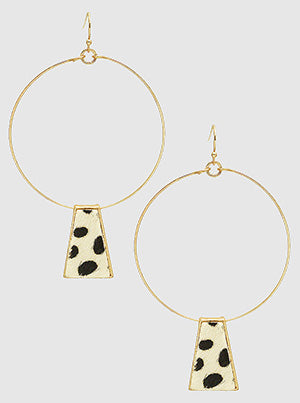 Dalmatian Print Metal Wire Round Dangle Drop Earrings