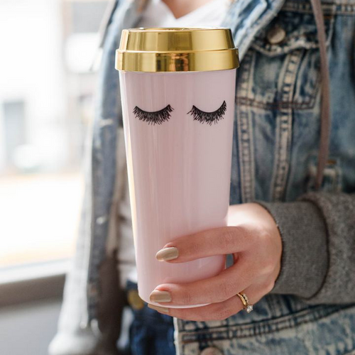 Pink Eyelash Travel Mug