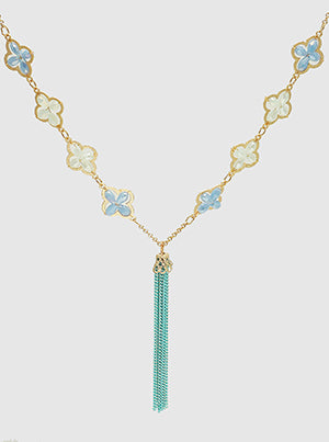 Gold and Light Blue Faceted Beads Quatrefoil Long Necklace With Tassel