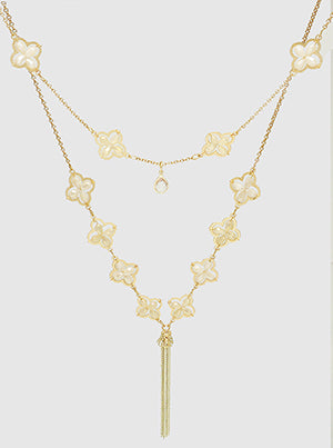 Gold Faceted Beads Quatrefoil Layered Long Necklace With Tassel