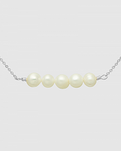 Load image into Gallery viewer, Five Cultured Pearls Metal Choker Necklace