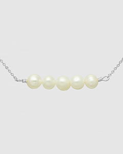 Five Cultured Pearls Metal Choker Necklace