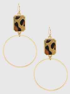 Leopard Print With Hollow Round Metal Dangle Drop Earrings