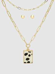 Rectangle Dalmatian Print Pendant Layered Necklace Set With Earrings