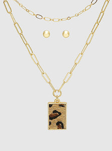 Rectangle Leopard Mini Print Pendant Layered Necklace Set With Earrings