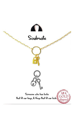 Gold Dipped Soulmate Lock and Key Delicate Necklace