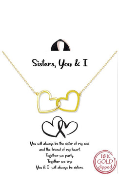 Gold Dipped Sisters You and I Double Heart Delicate Necklace