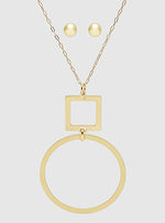 Gold 2 Tier Brushed Metal Square Round Pendant Necklace