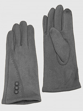 Grey Thermal Suede Touchscreen Compatible Basic Button Gloves