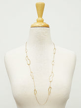 Load image into Gallery viewer, Gold Hammered Metal Organic Shape Long Station Necklace