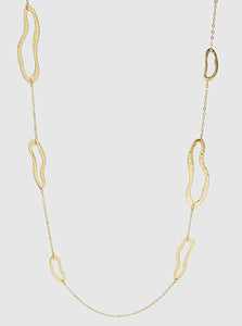 Gold Hammered Metal Organic Shape Long Station Necklace
