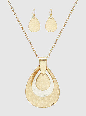 Hammered Metal Teardrop Pendant Long Necklace Set With Earrings