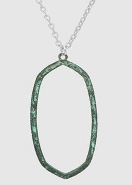 Hammered Patina Pendant Necklace