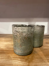 Load image into Gallery viewer, Textured Teal Mercury Glass Votive Candle Holder