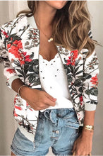 Load image into Gallery viewer, Jackie's White Floral Bomber Jacket