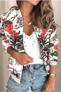 Jackie's White Floral Bomber Jacket
