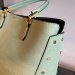 Elaina Studded Metal Handbag in Sage