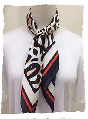 Red, White and Black Leopard Print Hair Scarf
