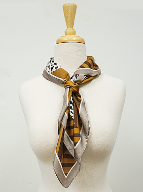 Brown and Taupe Animal Print Hair Scarf