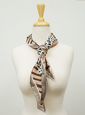 Pink and Taupe Leopard Print Hair Scarf
