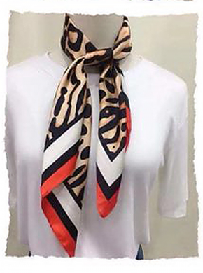 Red Black and White Leopard Print Hair Scarf