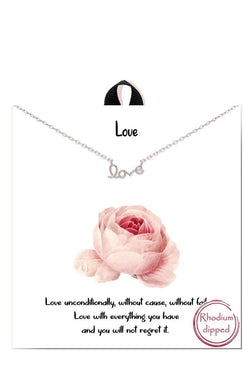 Cursive Script Love Phrase Delicate Necklace