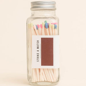 Multicolor Rainbow Matches in Glass Jar