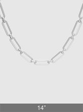 Load image into Gallery viewer, Matte Rhodium Plated Metal Link Hardware Chain Choker Necklace