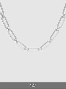 Matte Rhodium Plated Metal Link Hardware Chain Choker Necklace