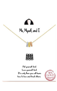 Me Myself and I Three Ring Delicate Necklace