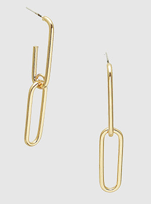 Metal Link Chain Dangle Drop Earrings