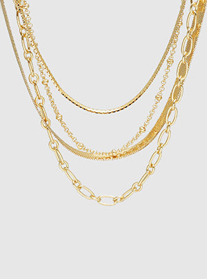 Metal Multi Layered Chain Choker Necklace