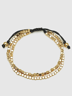 Gold Round Square Bead Double Layered Full Tie Bracelet