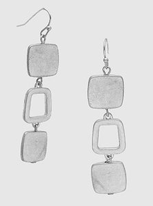Metal Rounded Square 3 Tier Dangle Drop Earrings