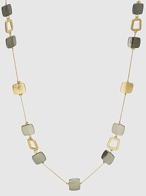 Metal Rounded Square Long Station Necklace