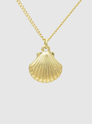 Gold Metal Sea Life Shell Pendant Necklace