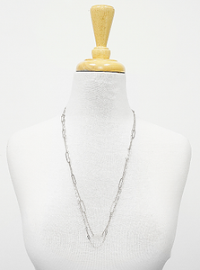 Multi Texture Link Chain Dual Layer Long Necklace