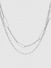 Load image into Gallery viewer, Multi Texture Link Chain Dual Layer Long Necklace