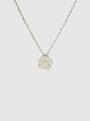 Rhodium Dipped Paw Pendant Necklace