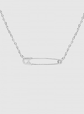 Rhodium Dipped Safety Pin Pendant Necklace