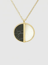 Load image into Gallery viewer, Black and White Natural Stone Mop Round Pendant Necklace