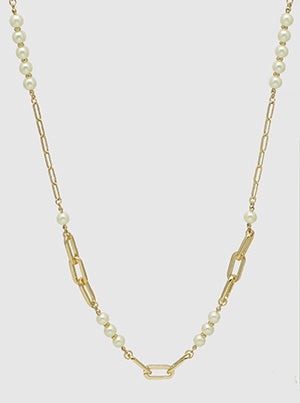 Pearl With Chain Metal Long Station Necklace