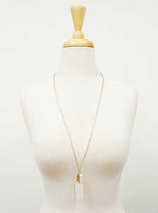 Gold Mop Rectangle With Freshwater Pearl Pendant Long Necklace Set With Earrings
