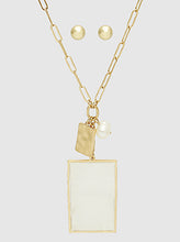 Load image into Gallery viewer, Gold Mop Rectangle With Freshwater Pearl Pendant Long Necklace Set With Earrings